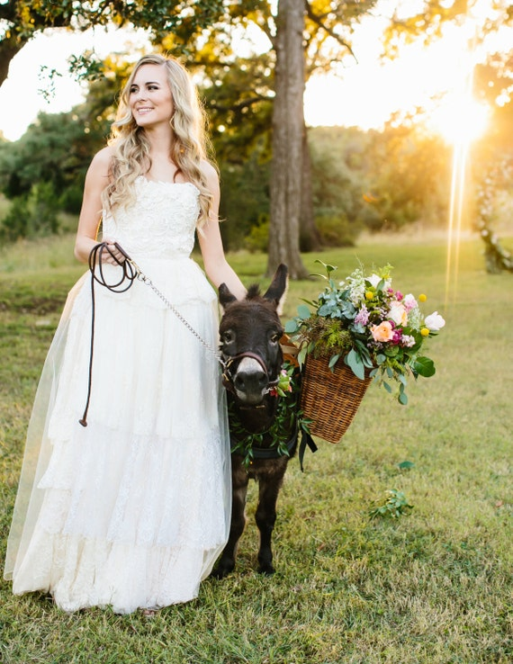 Sally, Ivory Lace Wedding Dress, One-of-a-kind, Multiple laces, strapless princess gown