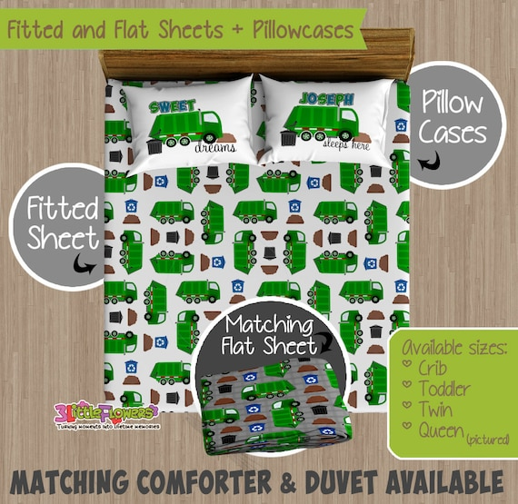 Excellent Garbage Truck Custom Fitted and Flat Sheets - Kids Bed Sheets  QB36