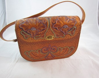 Upcycled Vintage 1970s Hand Tooled Leather Handbag w/Applied Crystal Detail Accents
