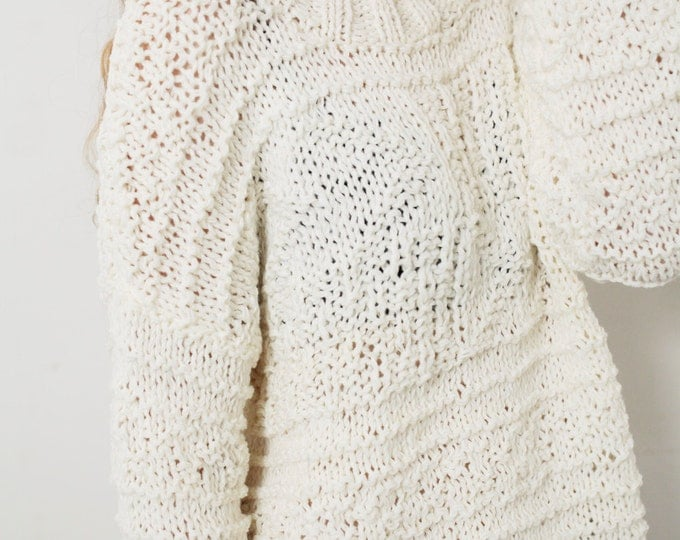 Hand knit oversized sweater wool woman sweater long sweater White Cream pullover sweater