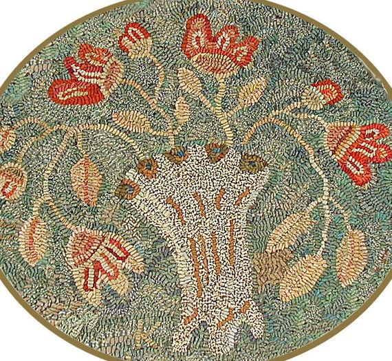 Nosegay rug hooking pattern