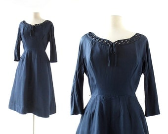 Vintage 60s Dress | Marienbad | Navy Blue Silk Dress | 1960s Dress | XS S