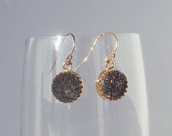Druzy Earrings, Gold Dangle Earrings, Espresso Druzy Earrings, Drusy Earrings, Espresso Earrings, Crown Set, Gift for Her