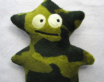 Plush monster, soft alien fantasy creature in green camouflage fleece, 11 inches