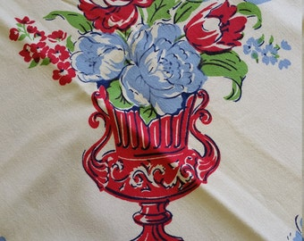 TC016 ~ Vintage tablecloth Vibrant colors Flowers Vases Red Blue Green 48x48