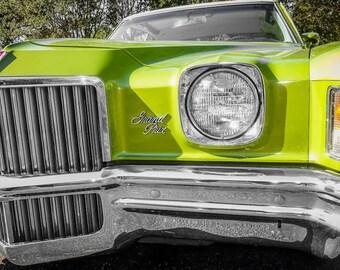 1972 Green Pontiac Grand Prix Front End Car Photography, Automotive, Auto Dealer, Sports Car, Mechanic, Boys Room, Garage, Dealership Art