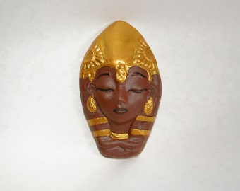 Egyptian Goddess Face Isis Ma'at Hathor Lady Ceramic Face Sculpture Art African