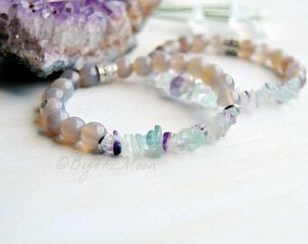 Fluorite Bracelet, Stretch Bracelet, Gemstone Bracelet, Agate Bracelet, Gift for Her, Boho Bracelet, Wedding Jewelry, Rainbow Fluorite