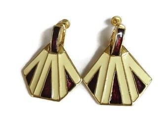 Egyptian Poured Enamel Dangle Earrings Vintage Signed Alice Caviness