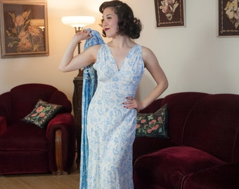 Vintage 1940s Nightgown Set - Silken Cold Rayon Blue and White Floral Print Bias Cut Nightgown and Peignoir Robe