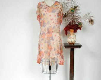 Vintage 1920s Dress - Fantastic Bright Rose Print Sheer Silk Chiffon 20s Dress with Fluttering Hemline and Capelet Collar - Melodic Whisper