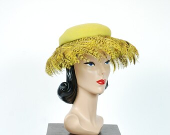 Vintage 1930s Hat - Spring 2017 Lookbook - The Osprey Hat - Lilly Dache Chartruese Green Wide Brim Hat with Bright Pheasant Feathers