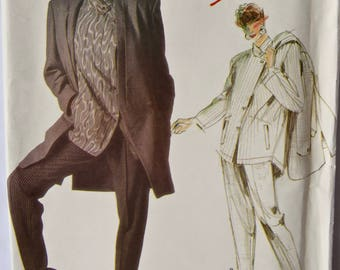 Issey Miyake 1980's Individualist Designer Vogue 1664 Vintage Sewing Pattern Misses' Jacket Shirt and Stirrup Pants Size 10 Bust 32.5