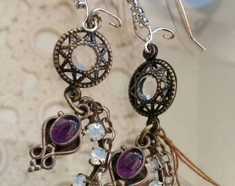 vintage jewelry bits silver amethyst drop earrings