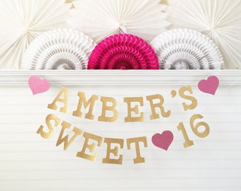 Glitter Sweet 16 Banner - 5 inch Letters - Sweet 16 Party Decor Sweet 16 Garland 16th Birthday Party Decorations Gold Custom Name Banner