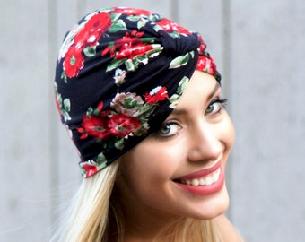 Gypsy Boho Hippie 1940s Turban Hat Hair Snood Chemo Cap Packable Hat Hair Wrap Stretch Full Turban Floral Turban Hat Black Red Roses