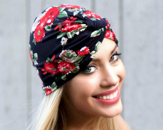 1940s Turban Hat Hair Snood Chemo Cap Packable Hat Hair Wrap Stretch Full Turban Floral Turban Hat Black Red Roses