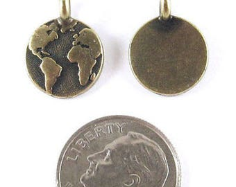 TierraCast Pewter Charms-Brass Oxide ROUND EARTH 12x16mm (2)
