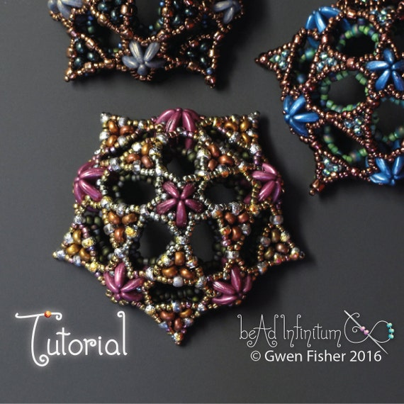 Beading TUTORIAL Pentadome Pendant Pattern with 2-Hole Crescent and Bar Beads