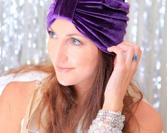 Velvet Turban Hat - Women's Fashion Headwrap in Purple - Bohemian Style Hair Accessories