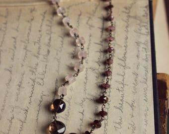 The Earthbound Necklace. Rustic Bohemian Romantic Smoky Quartz, Tourmaline & Rose Quartz Gemstone Beaded Necklace