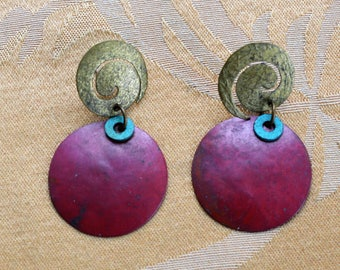 Pretty Vintage Burgundy, Turquoise, Brass tone Dangle Pierced Earrings (D12)