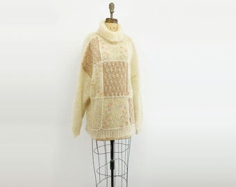 Oversized Sweater Vintage 80s Sweater Cream White Wool Loose Knit Sweater Ecru Wool Tunic  1980s Batwing Sleeve Patchwork Sweater s, m, l