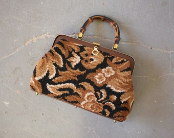 vintage 1960s purse / 60s tapestry handbag / 60s brown needlepoint purse / 60s brown floral carpet bag / real bamboo handle purse