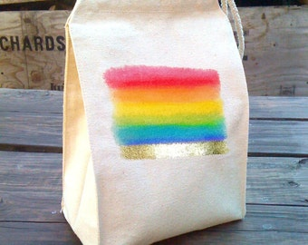 Lunch Bags, Lunch Bag, Lunch box, School Lunch bag, Lunch tote, Rainbow colors, Spectrum, Cloth Cotton Snack sack with handle, Eco Friendly