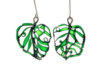 New Green Leaves Silver Earrings. Elegant Earrings. Emerald Green Earrings. Green Jewelry. Unique Jewelry. Wire Wrapped Jewelry. Lightweight