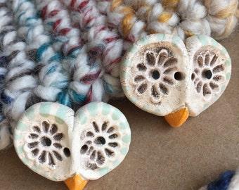 2 Mint Green Barn Owl Ceramic Buttons