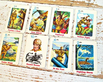 34 Small Vintage Daniel Boone Card Game Cards from 1960's!