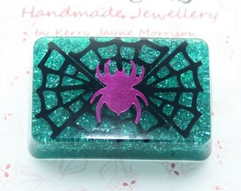 Halloween Purple Spider & Teal Glitter Resin Brooch
