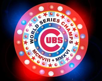 Chicago Cubs Marquee vintage aranacci 44 inch diameter NEON Chase Fade Dim Flash Remote Control
