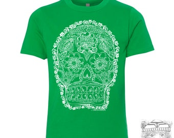 Kids Sugar Skull DEAD 2 Premium vintage soft Tee T-Shirt Fine Jersey T-Shirt (+Colors) - FREE Shipping