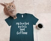 Graphic tee, Cat shirt, Funny tshirt, Cats and Caffeine, cat lover gift, girlfriend gift, cat shirts for women, cat lady, rctees original