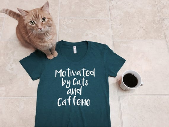 Graphic tee, Cat shirt, Funny tshirt, Cats and Caffeine, cat lover gift, slim fit, girlfriend gift, cat shirts for women, cat lady, rctees