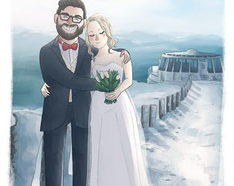 Illustrated custom portrait (Cute soft style + bg) Wedding portrait, custom illustration, anniversary present, wedding gift