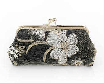 Black white and Gold Floral Clutch   Embroidered tulle lace   Mother of the Bride and Groom Gift   Ready to Ship