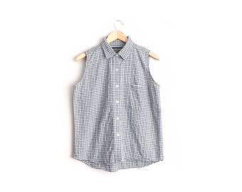 Size L // GREY PLAID SHIRT // Sleeveless - Button-Up Top - Collar - Cotton - Vintage '90s.