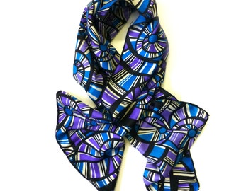 Vintage Jacqmar pure silk scarf c1960's English womens fashion accessory Country house long headscarf wrap abstract purple-Christmas gift-