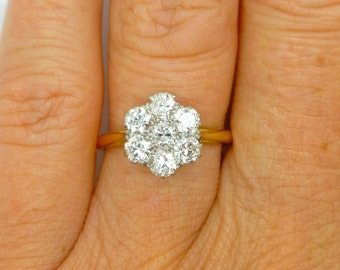 Art Deco Diamond engagement ring c1930's Platinum 18ct Halo flower daisy cluster daisy Antique Anniversary right hand ring FREE Fed Ex Ship