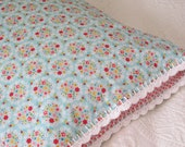 Blue Posies Pillowcase with Crochet Trim