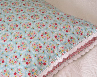 Blue Posies Pillowcase with Crochet Trim