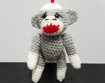 Sock Monkey Miniature Grey Thread Artist Crochet  Ready to Ship