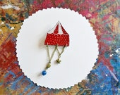 Night Circus Tent Red White Polka Dot blue brooch.  Woodpaper hand painted Victorian brooch