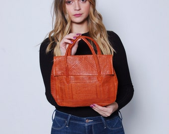 Vintage 70s MOROCCAN Leather Handbag TOOLED LEATHER Bag Boho Handbag 70s Leather Bag
