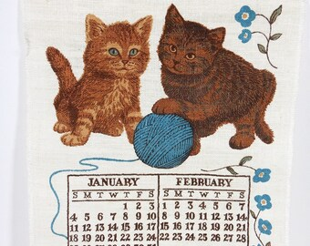 1981 Vintage Kitten Linen Calendar | Blue Brown Cream | Vintage Fabric Panel | Retro Kitchen Towel | Craft Repurpose Supplies | Wall Decor