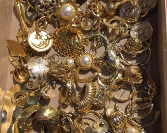 71 Pieces of Gold Tone Earring Singles for your ART