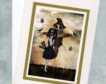 Greeting Card & Envelope - Big Eyed Girl And Scarecrow - Unrequited Love